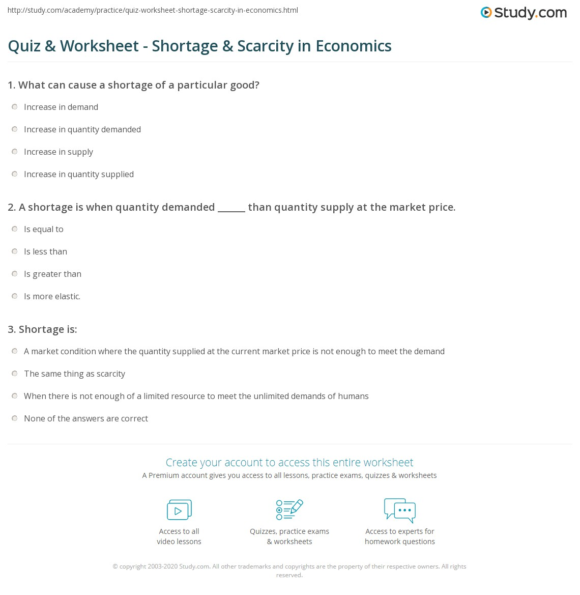 Scarcity Worksheets For 3rd Grade