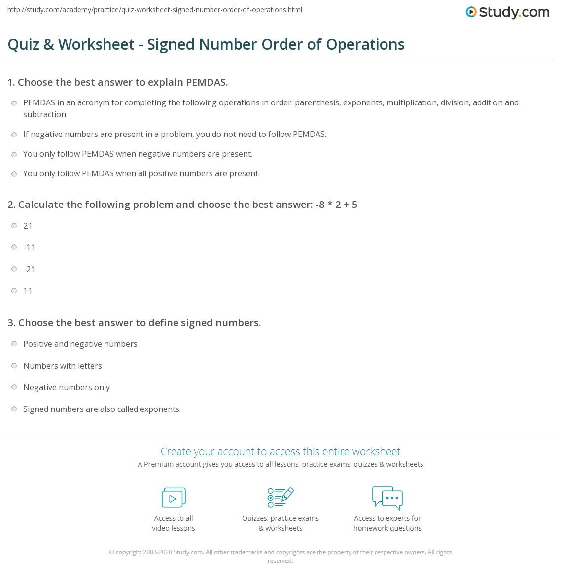 Iready Math Worksheet Pemdas