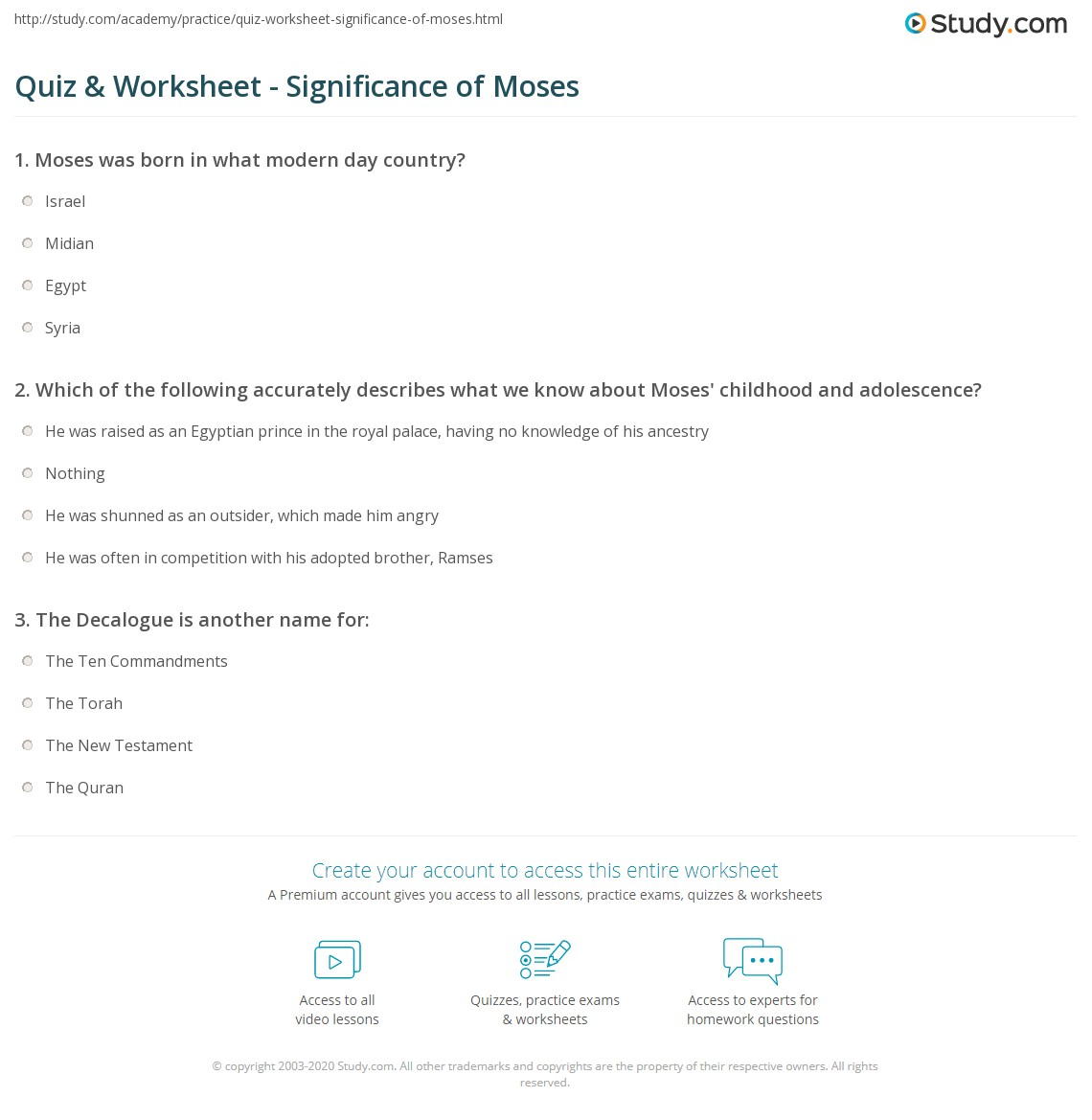 Story Of Moses Worksheet