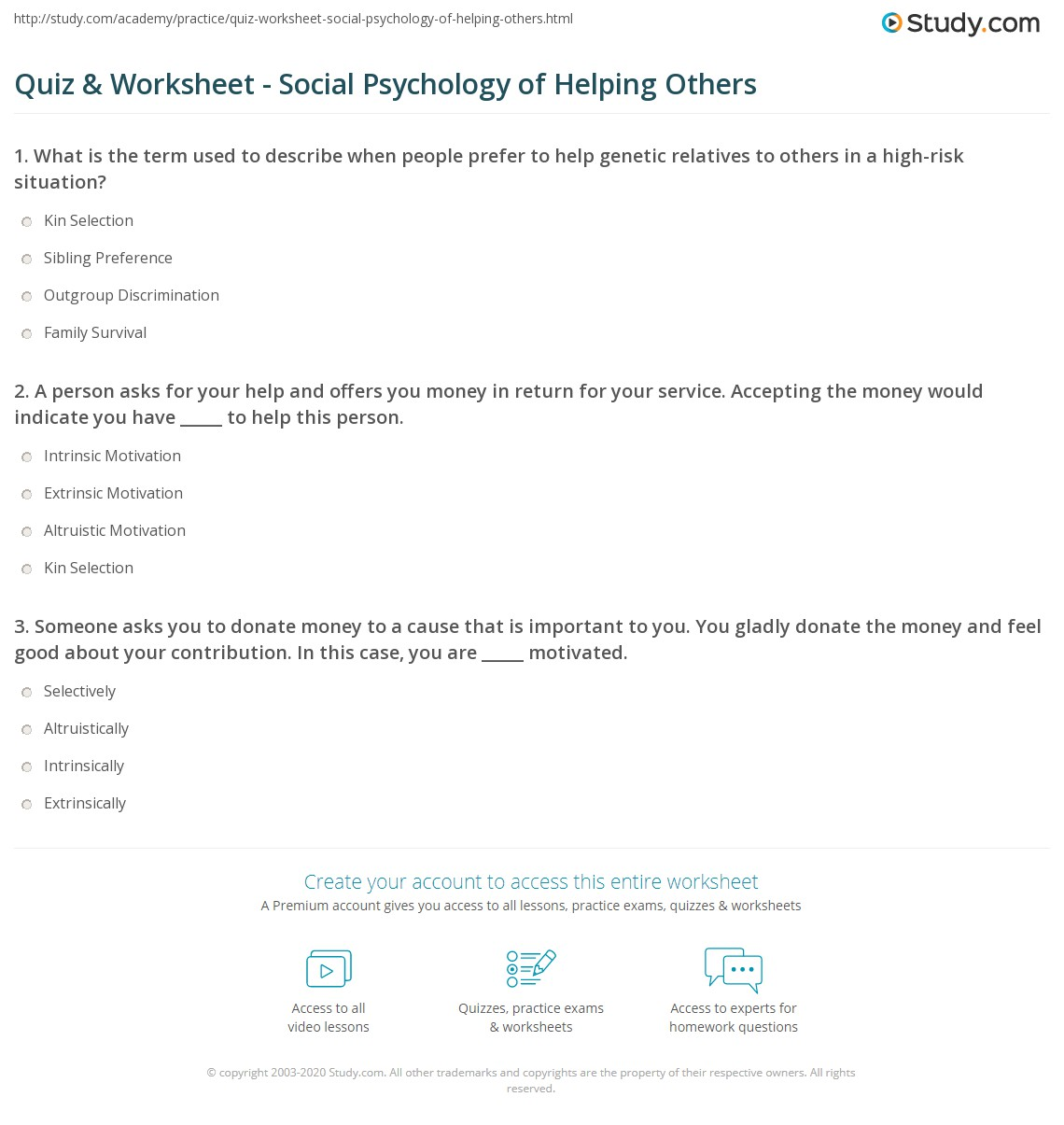 Helping Others Worksheet