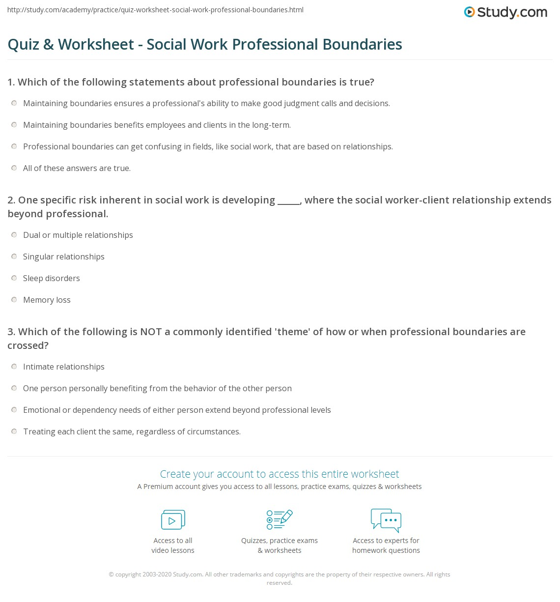Social Work Boundaries Worksheets