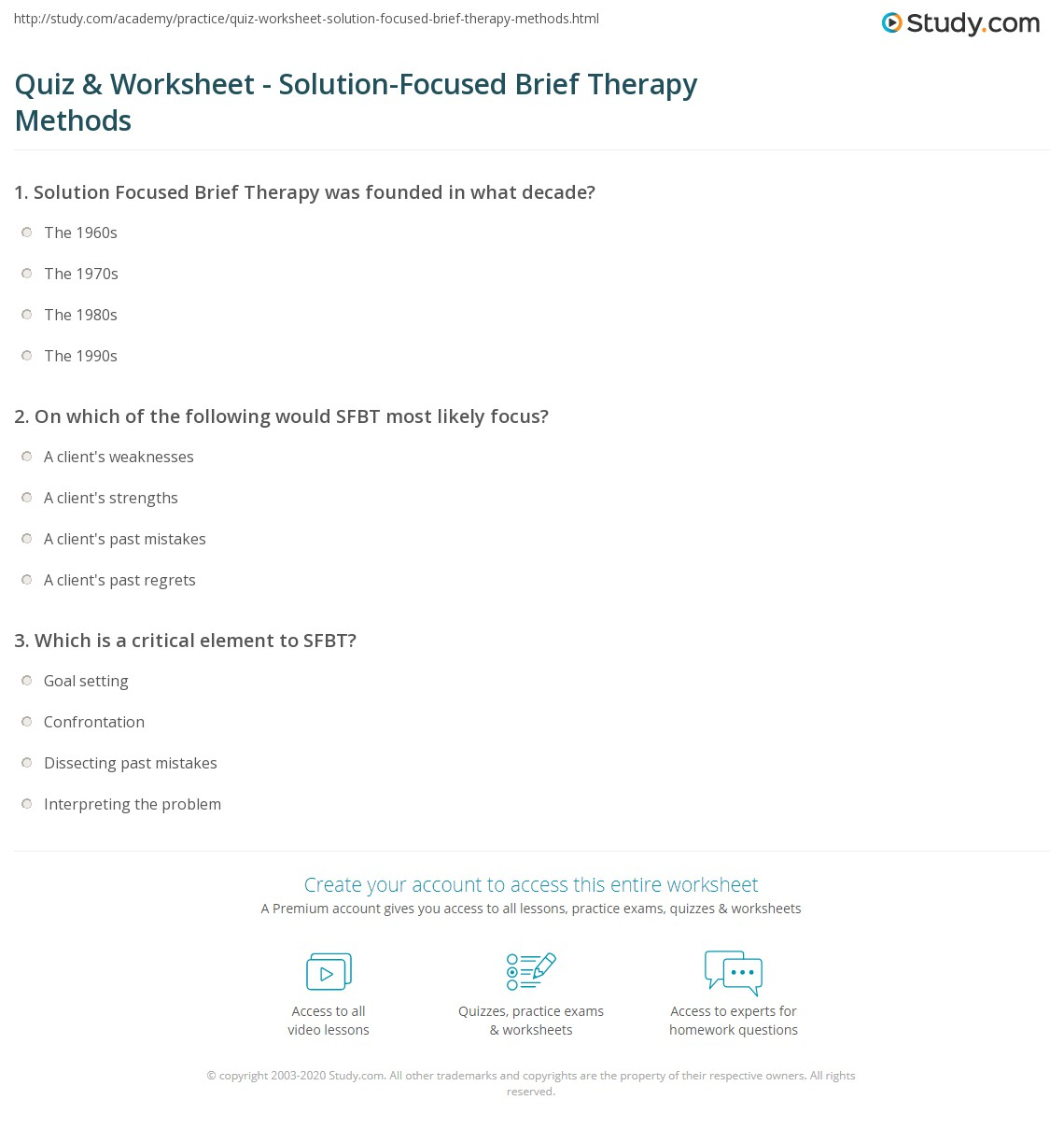 Solution Focused Brief Therapy Model Solution Focused