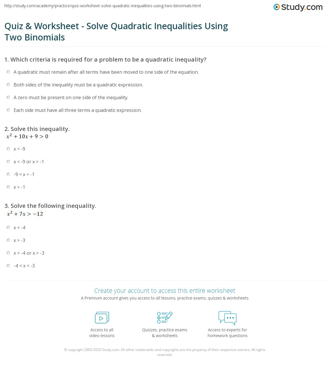 Worksheet Quadratic Inequalities
