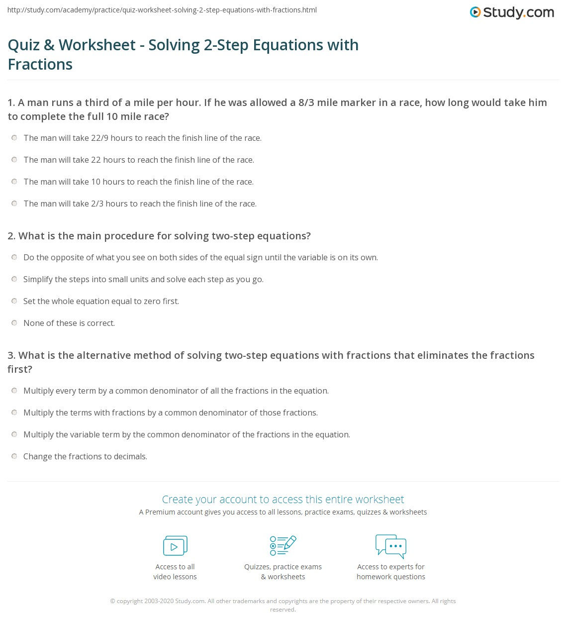 Solving Linear Equations With Fractions Practice