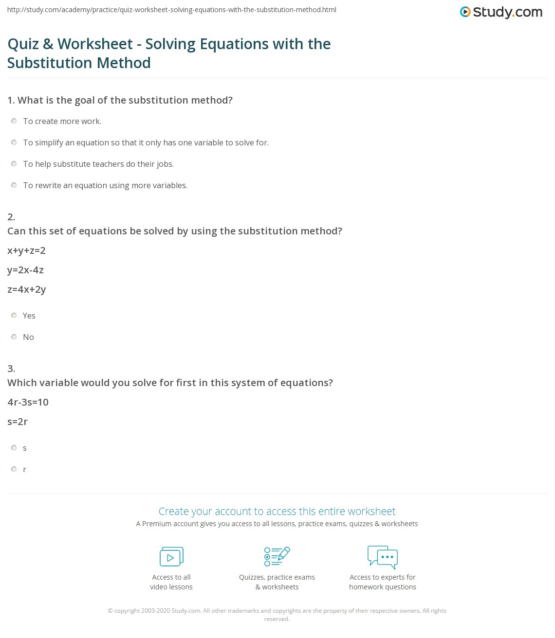 Substitution Worksheet Math Aids
