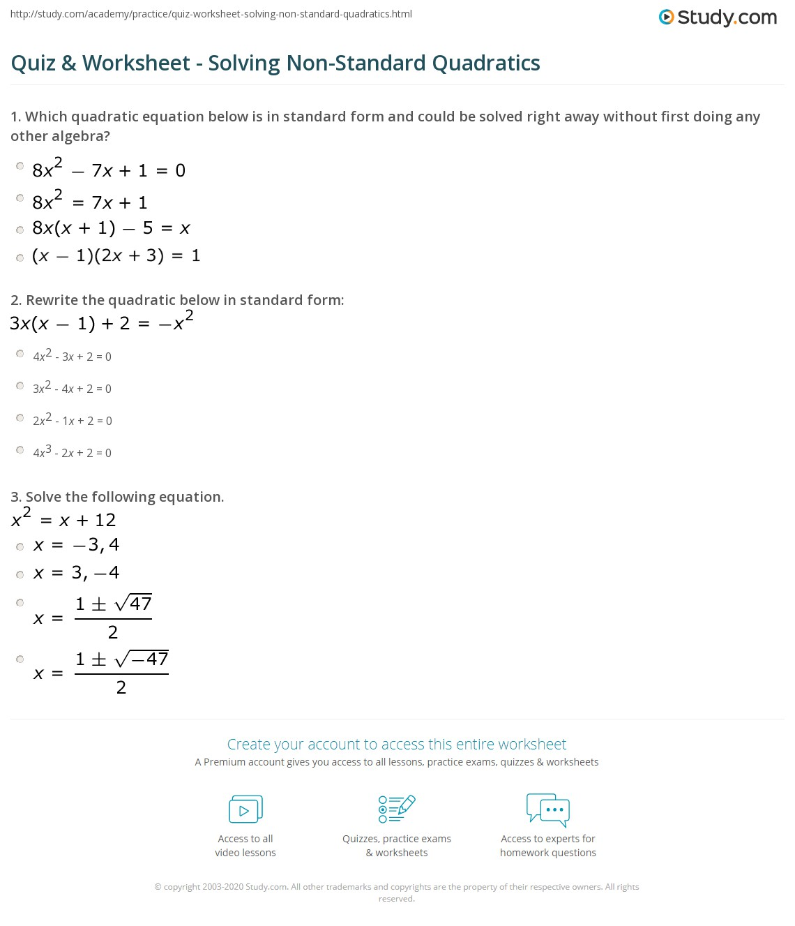 Quadratic Equation Examples Standard Form