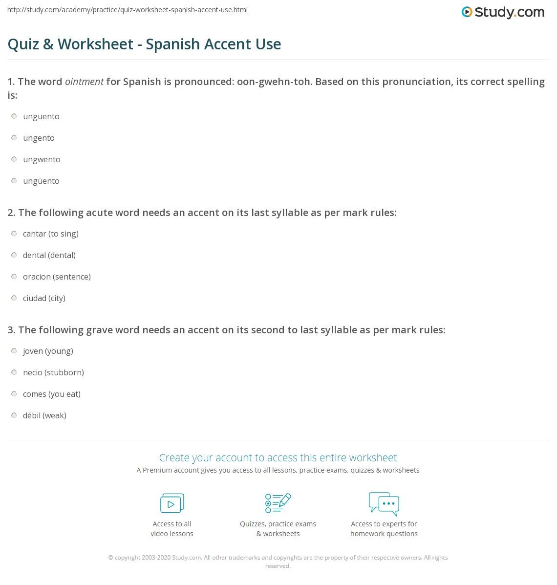 Quiz W Ksheet Sp Nish Ccent Use Study