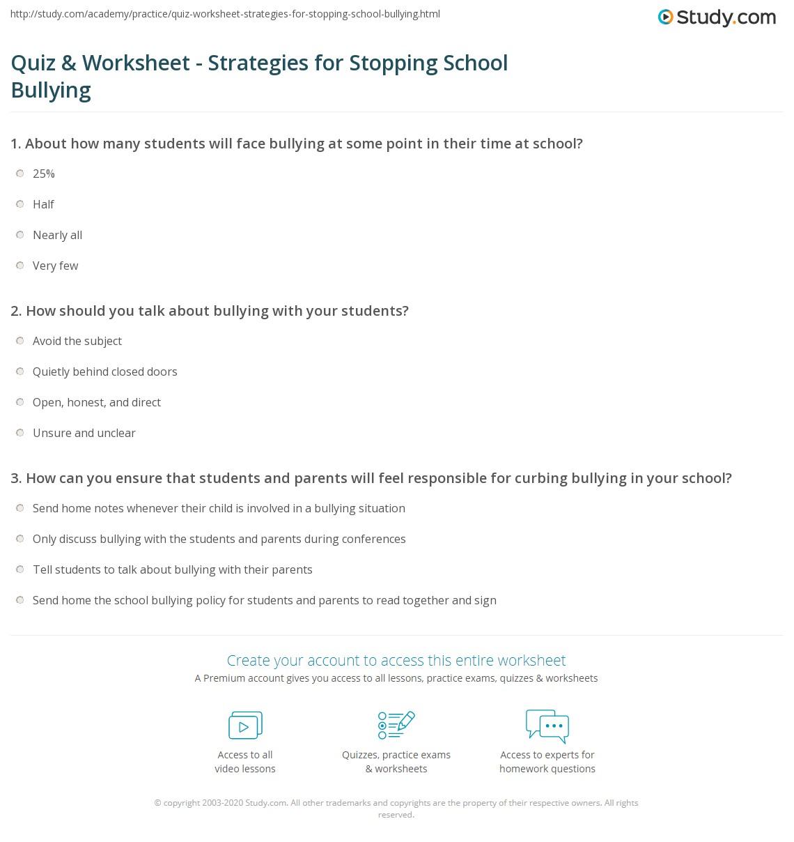 Worksheet On Bullying