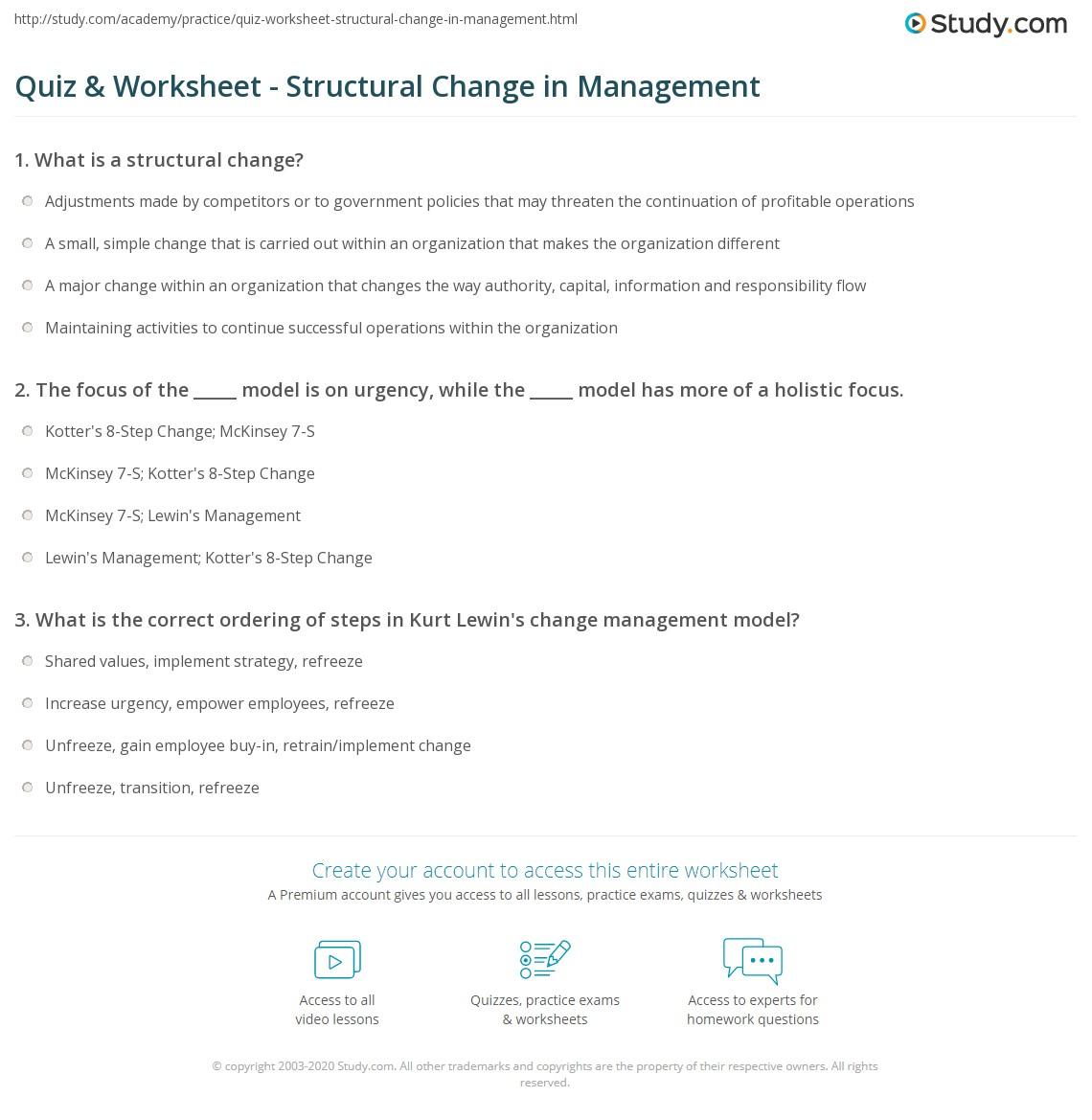 Managing Change Worksheet
