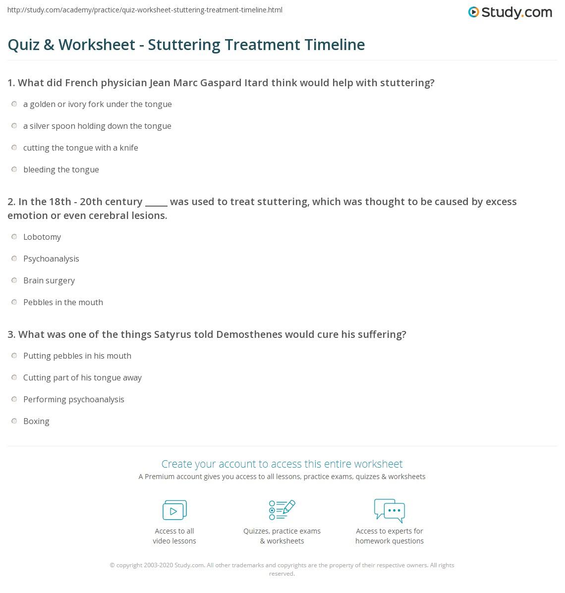 Stuttering Treatment Worksheet