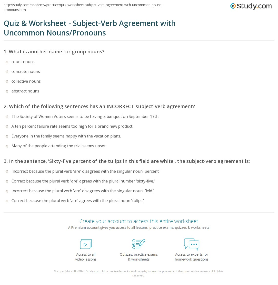 Worksheet Subject And Verb Agreement Worksheets Grass