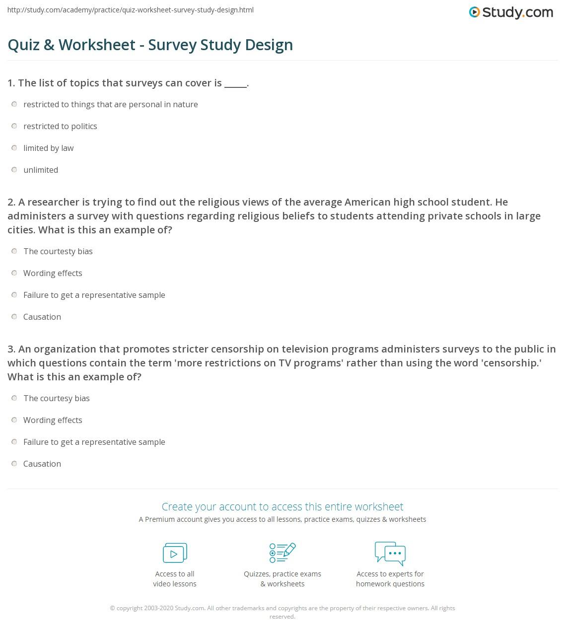 Sample Survey Worksheet
