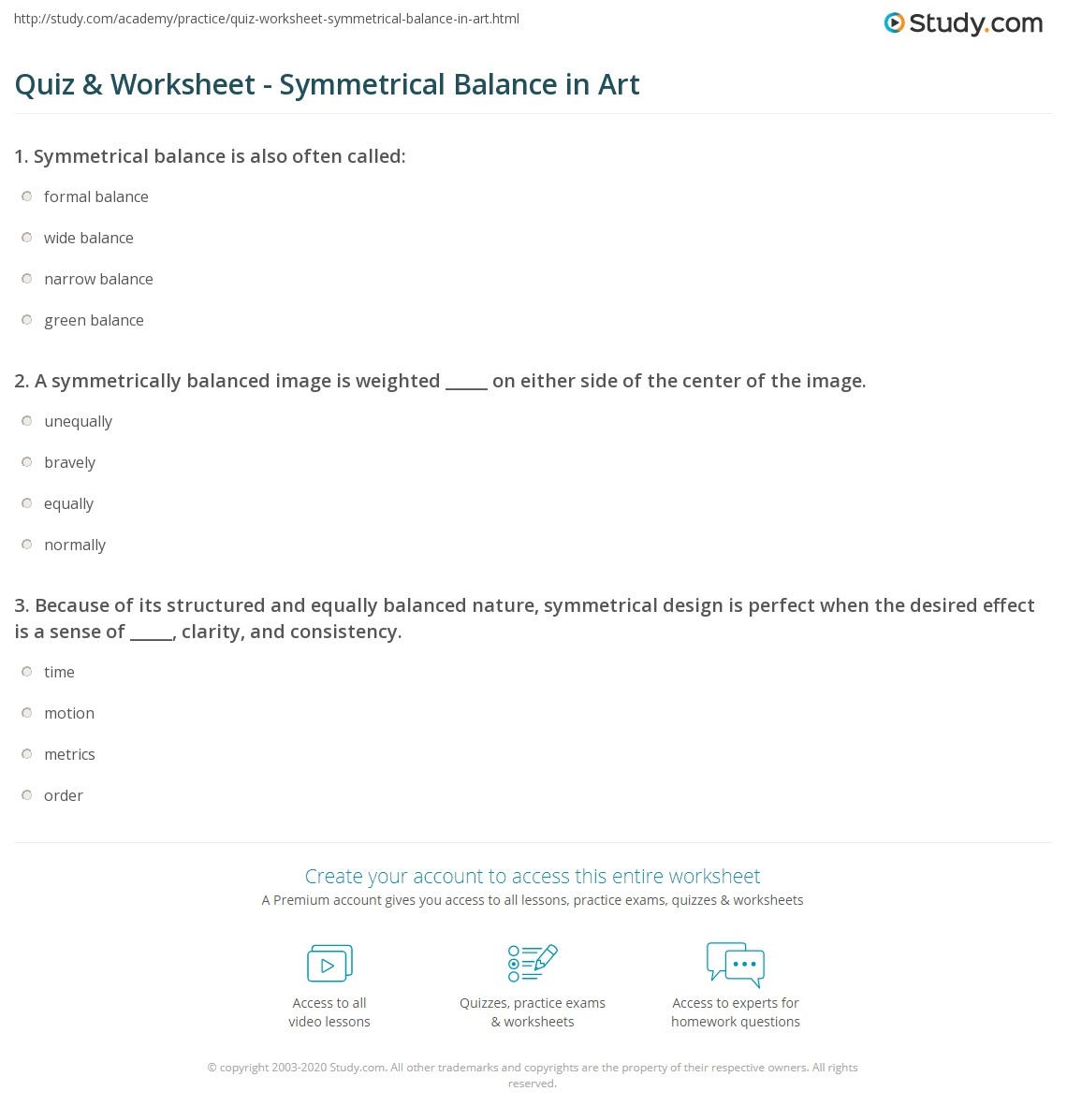 Center Of Balance Worksheet