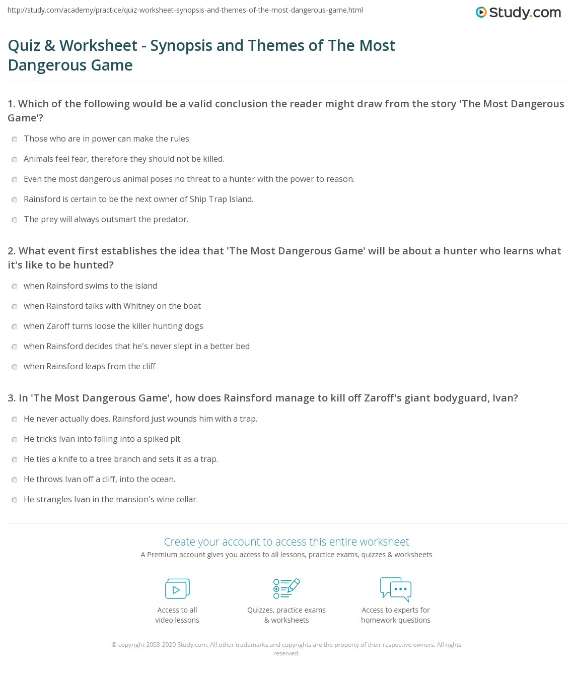 Most Dangerous Game Worksheet Free Worksheets Library