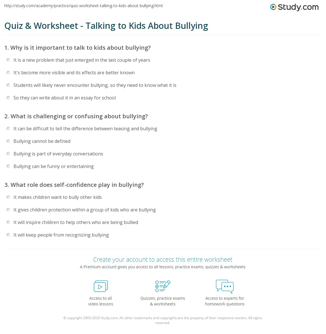 Bullying Role Play Worksheet