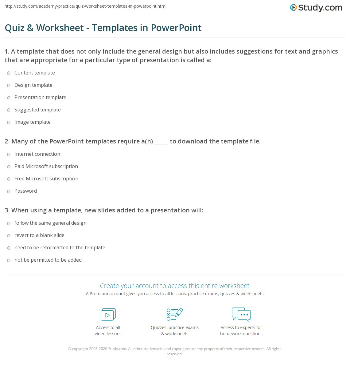 Quiz Sheet Template