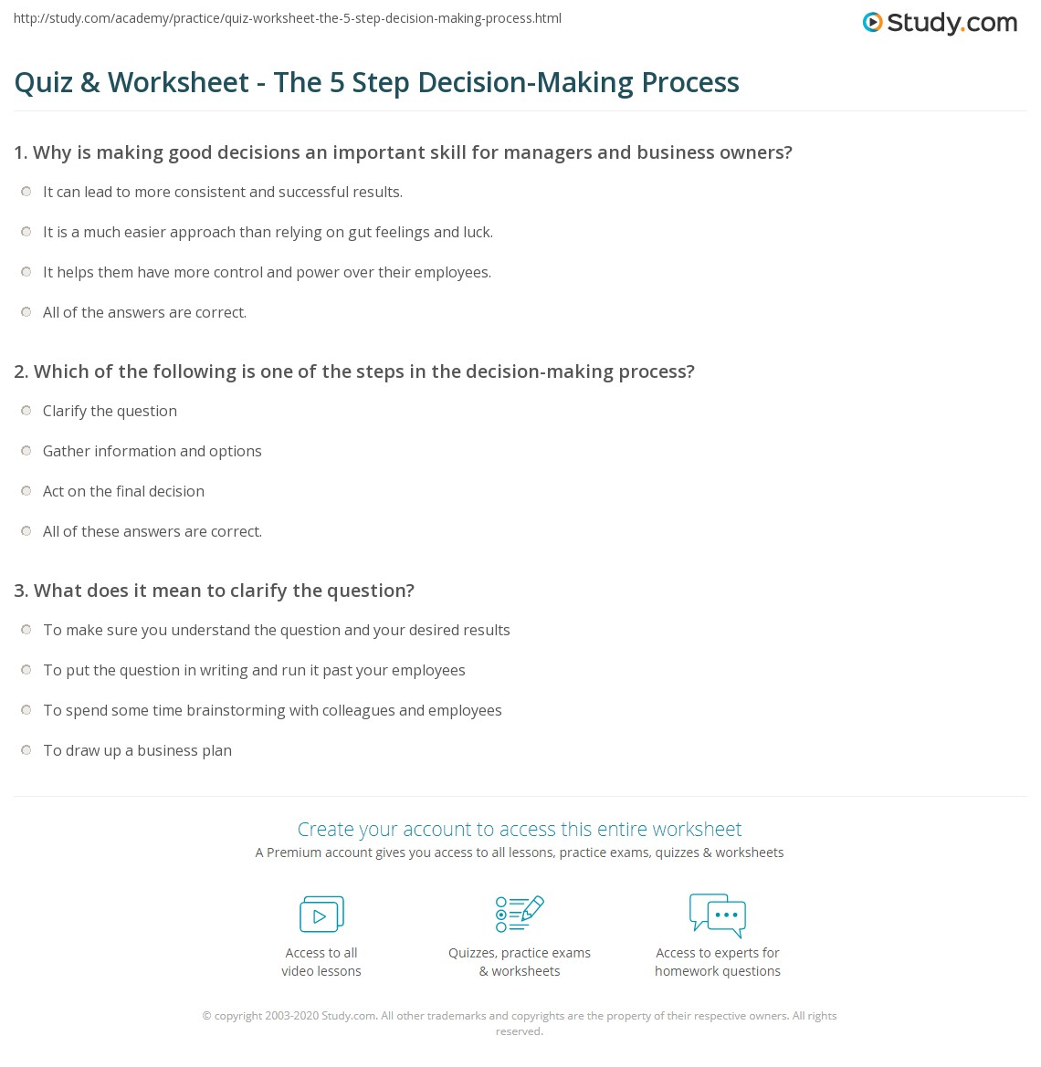 Printables Making Good Decisions Worksheets