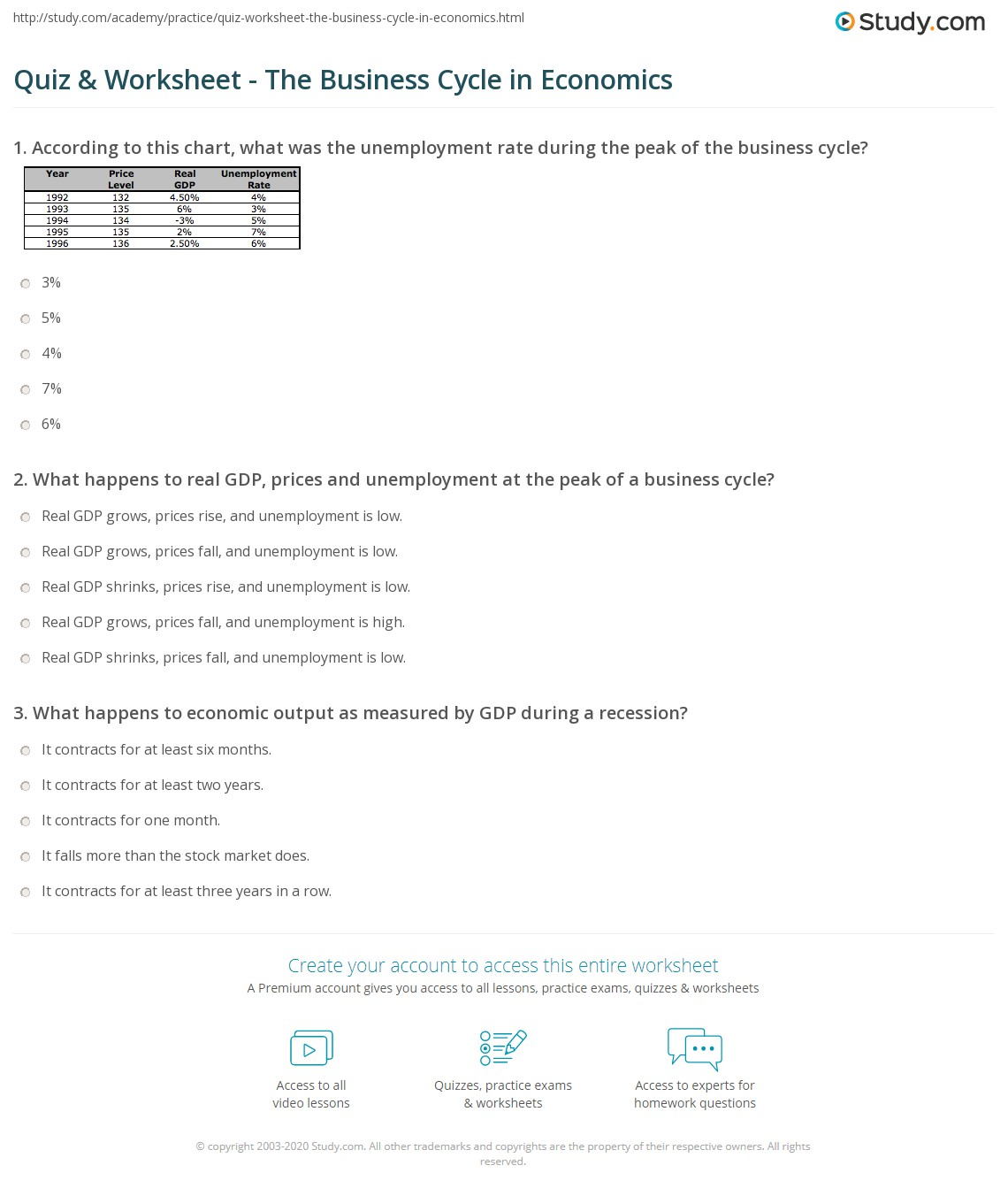 Economics Worksheet