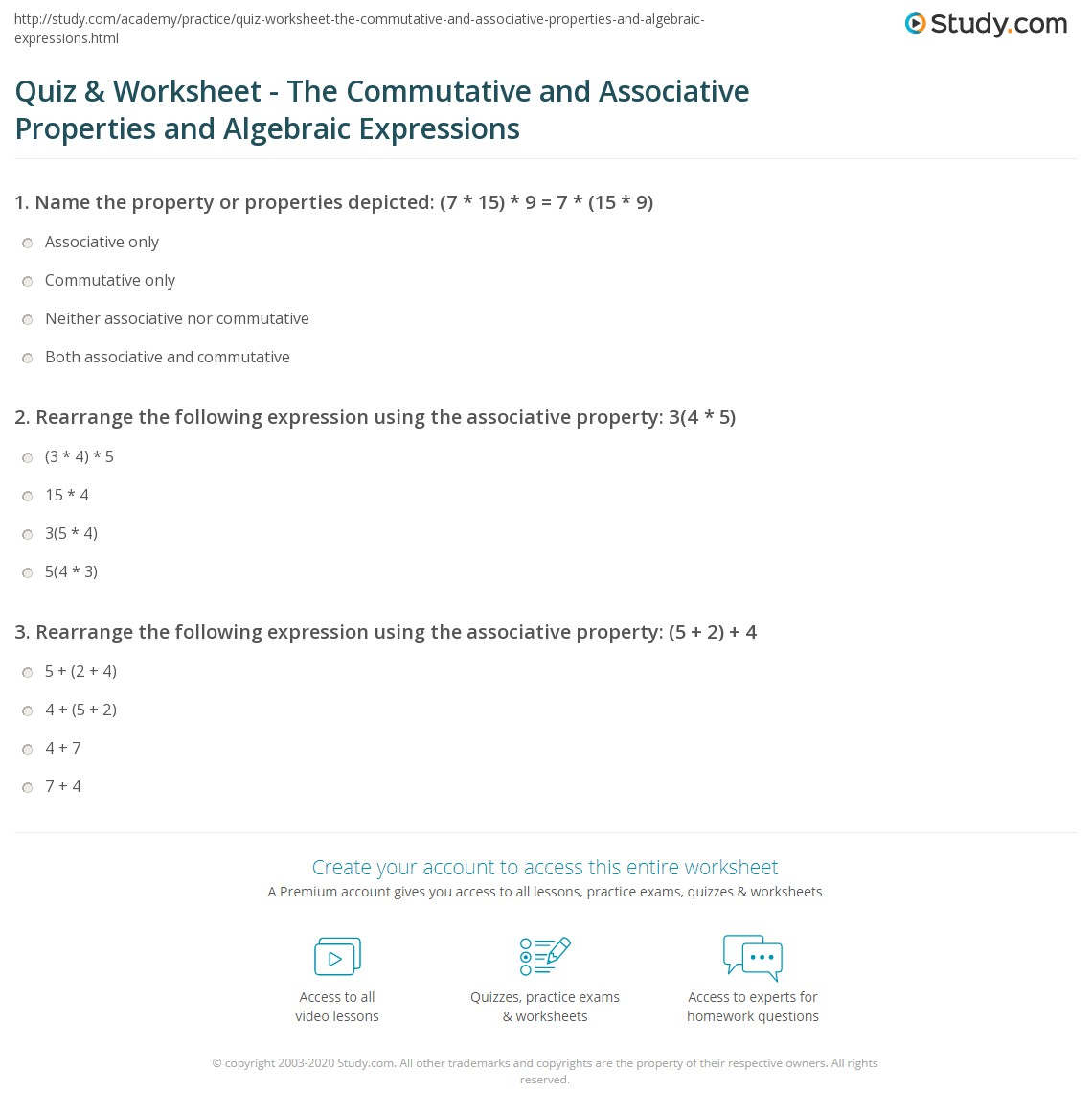 Associative Law Worksheet