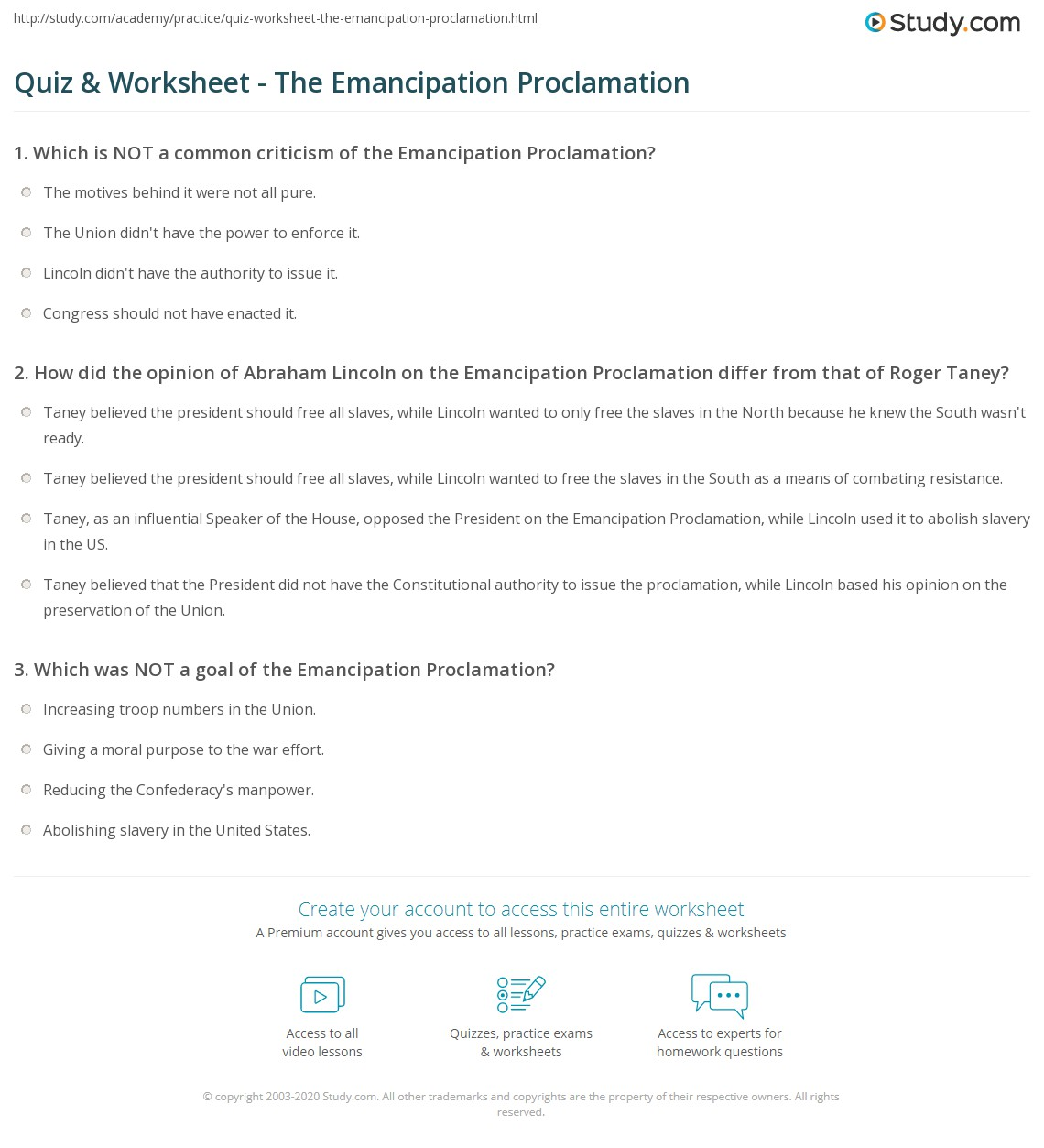 Worksheets Emancipation Proclamation Worksheet