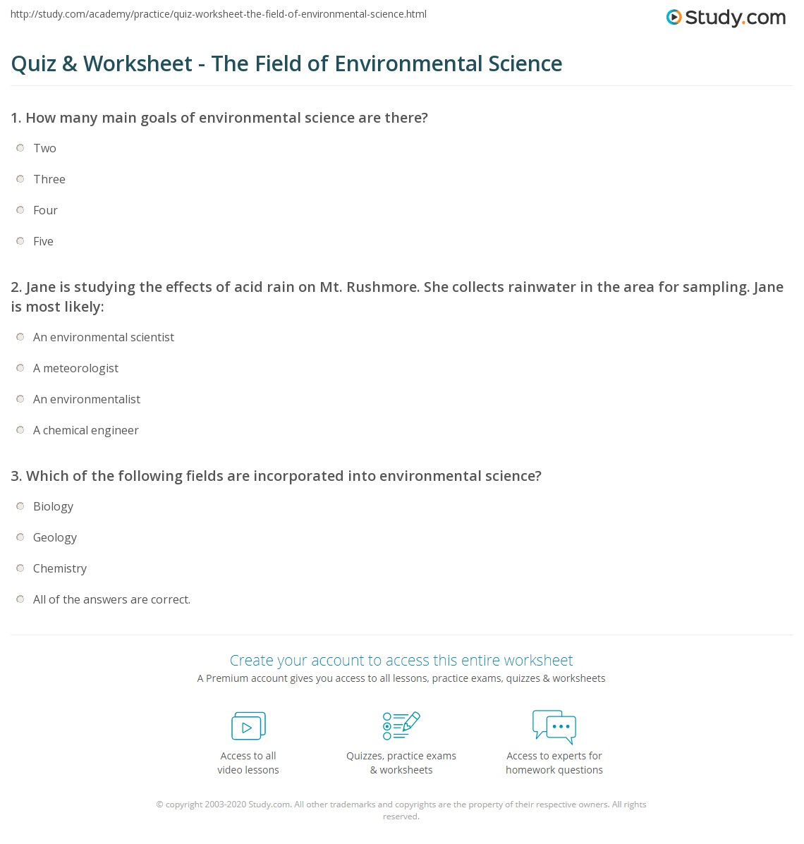 High School Environmental Science Reading Comprehension