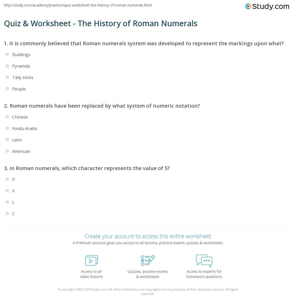 Writing Roman Numerals Worksheet