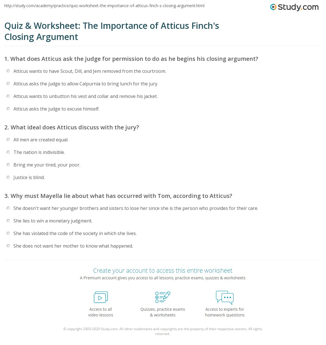 Quiz Amp Worksheet The Importance Of Atticus Finch S