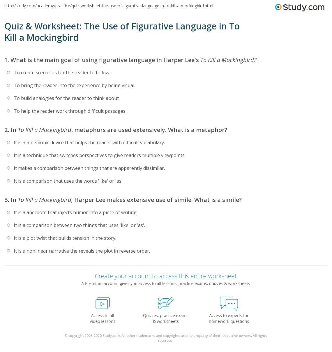 Quiz Amp Worksheet The Use Of Figurative Language In To