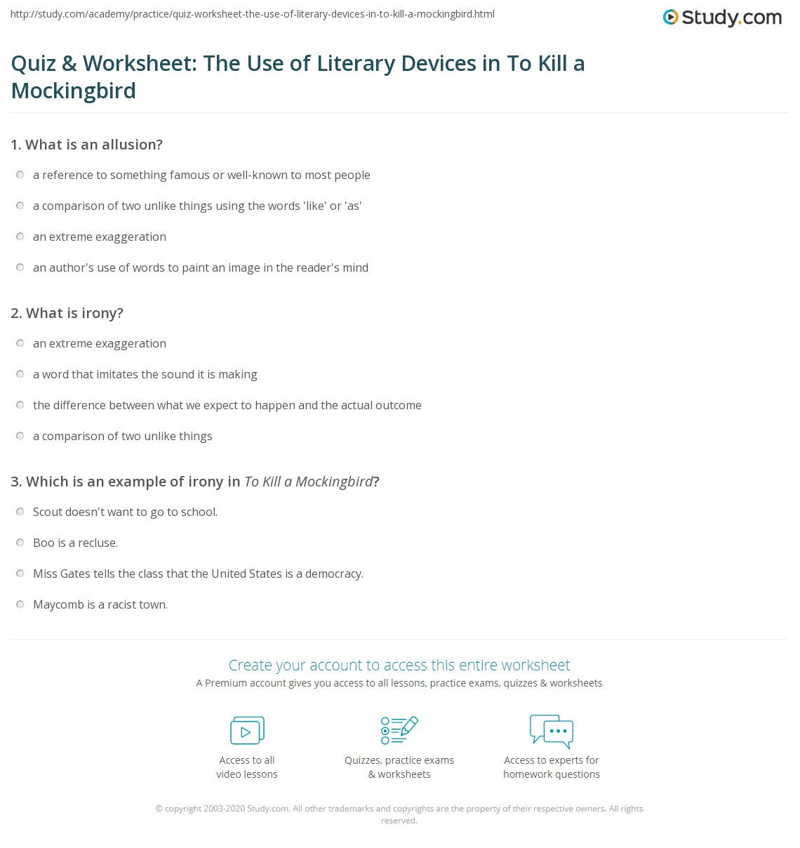 Quiz Amp Worksheet The Use Of Literary Devices In To Kill A
