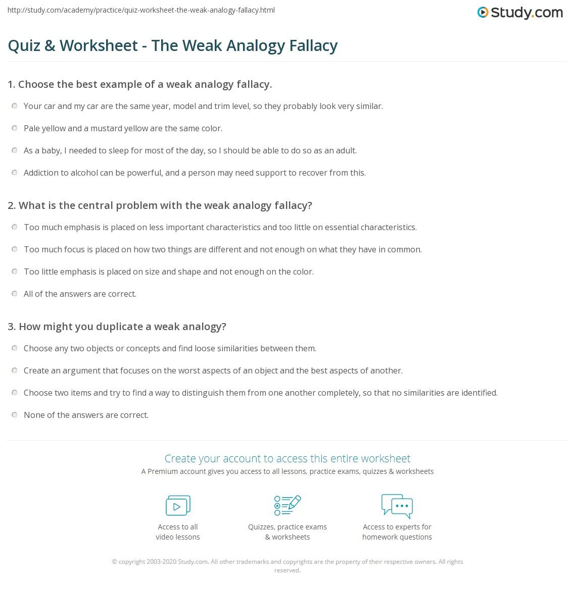 Examples Of Weakogy Fallacies