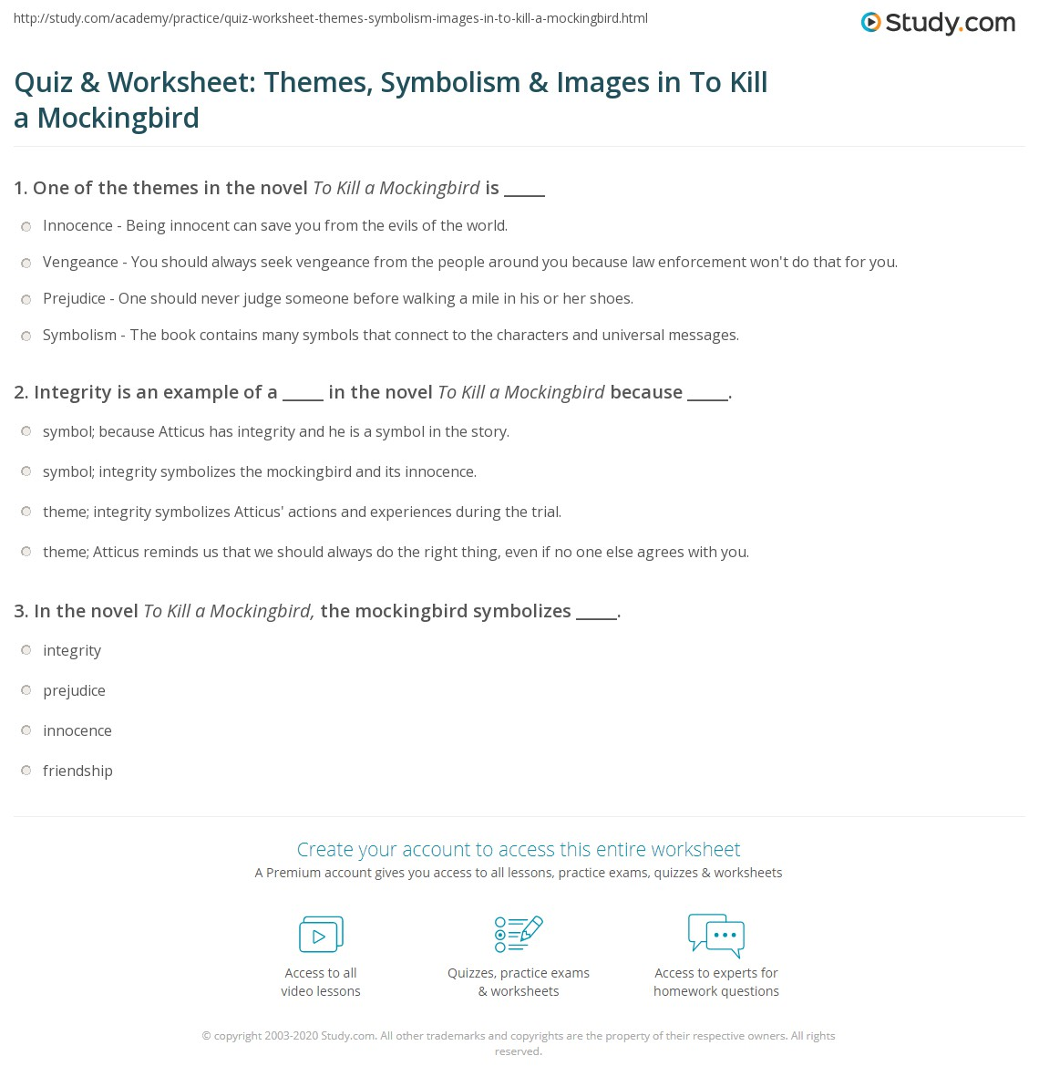 Quiz Amp Worksheet Themes Symbolism Amp Images In To Kill A