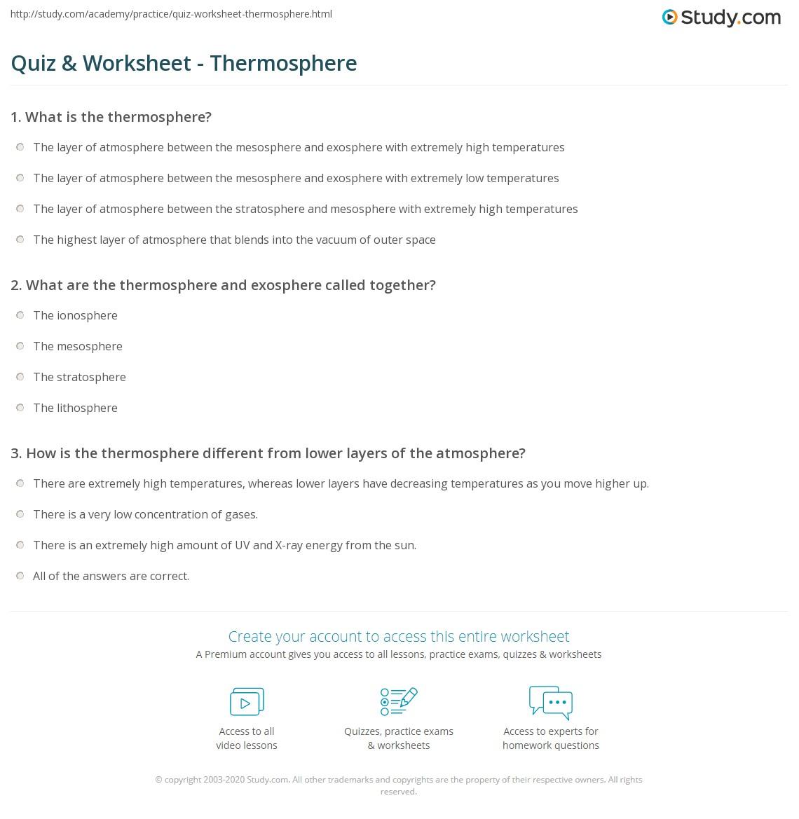 The Atmosphere Worksheet