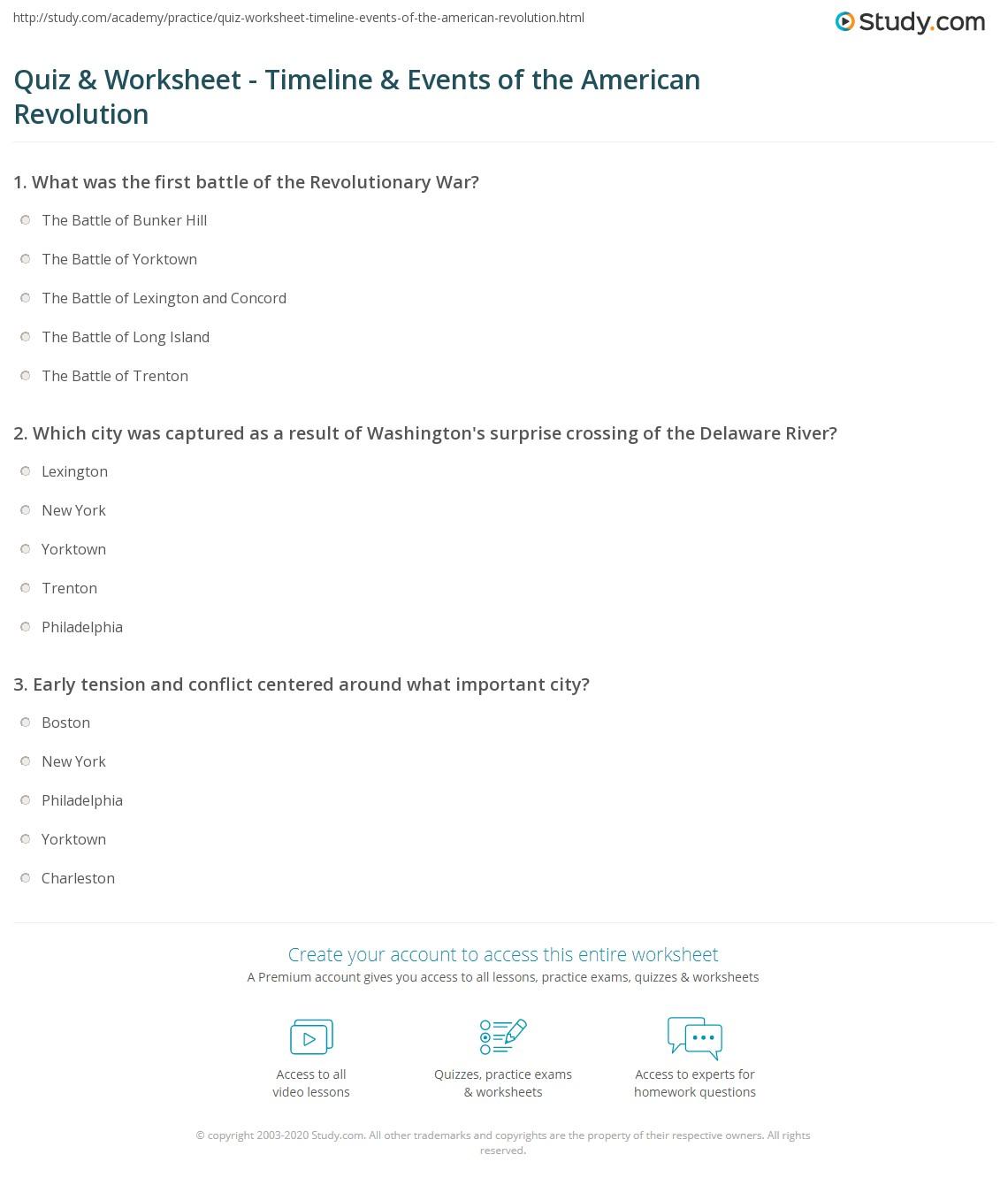 American Revolution Timeline Worksheet