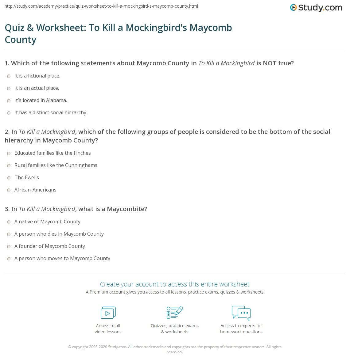 Quiz Amp Worksheet To Kill A Mockingbird S Maycomb County