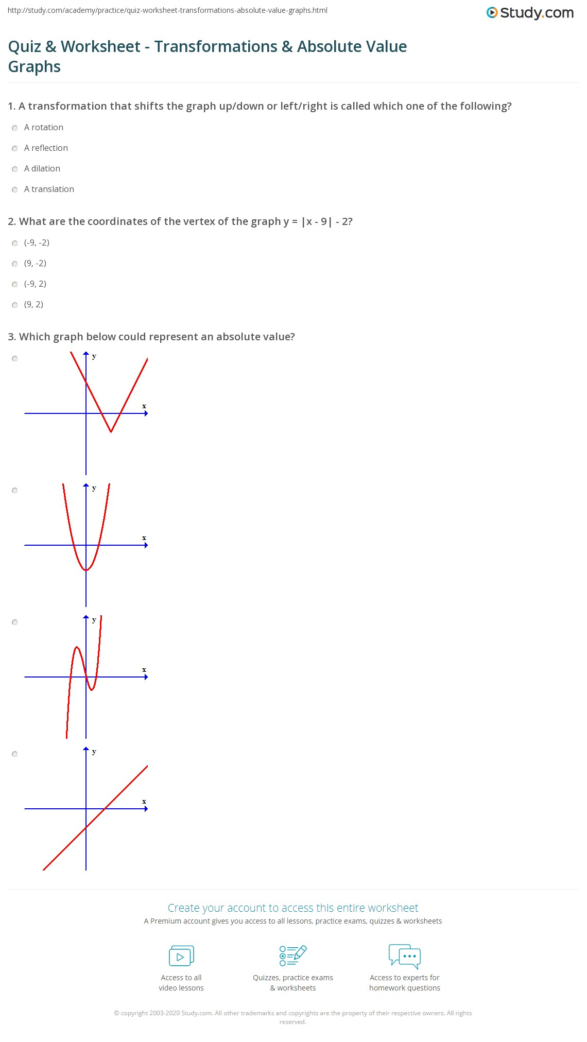 Transformations Of Quadratic Graphs Worksheet Answers