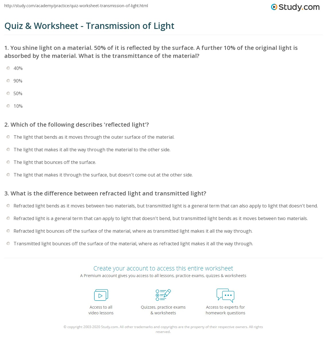 Worksheet Properties Of Light Worksheet Worksheet Fun