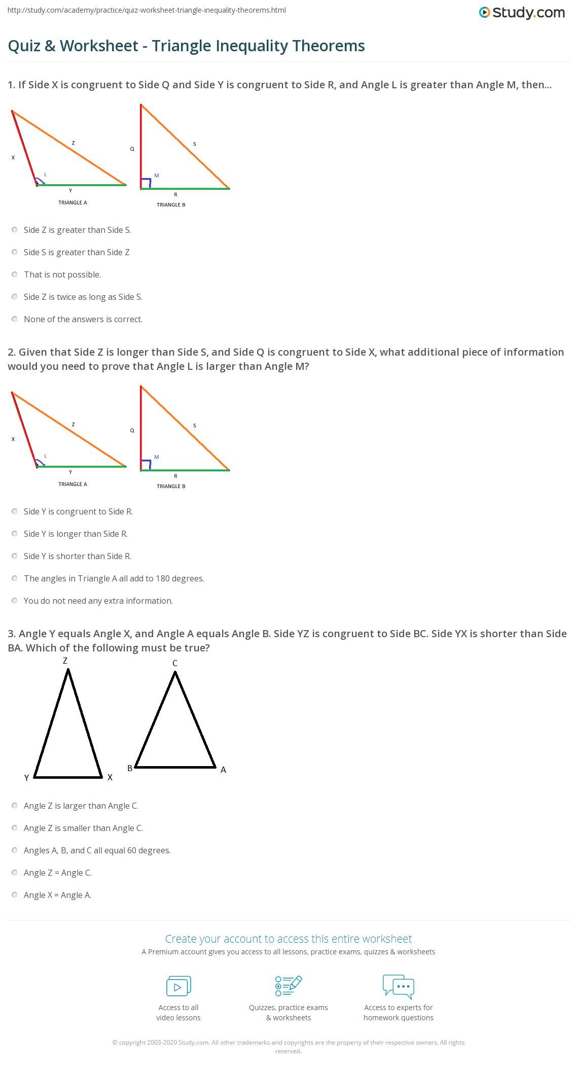 Triangle Inequality Theorem Worksheet Homeschooldressage