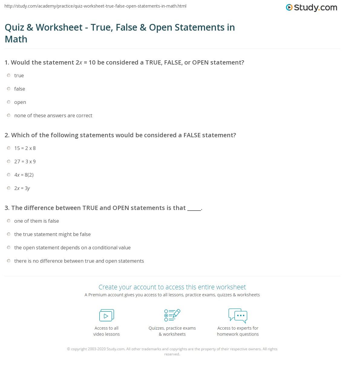 True Or False Statement Worksheet