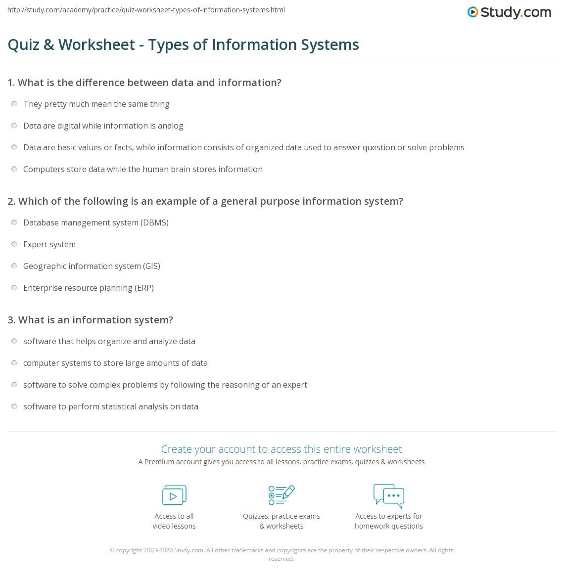 General Information Worksheet