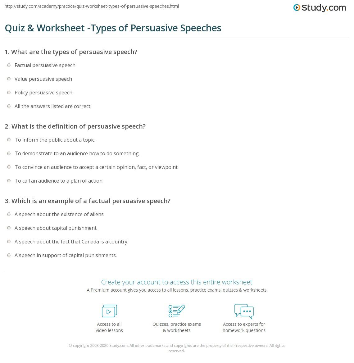 Quiz Amp Worksheet Types Of Persuasive Speeches