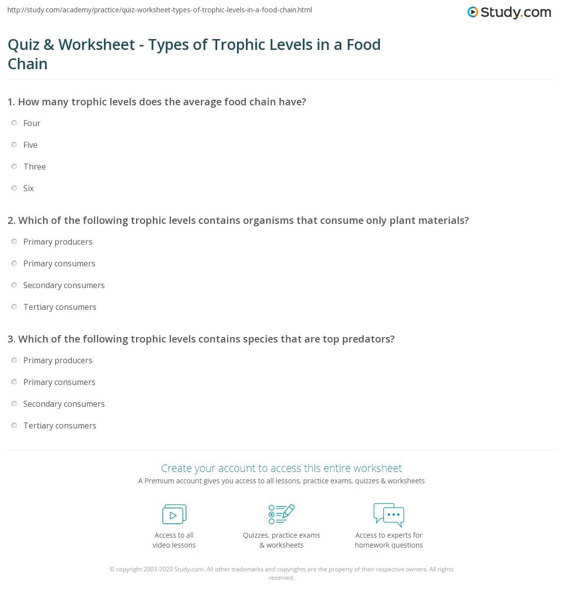 Quiz W Ksheet Types Of Trophic Levels Food Ch Study