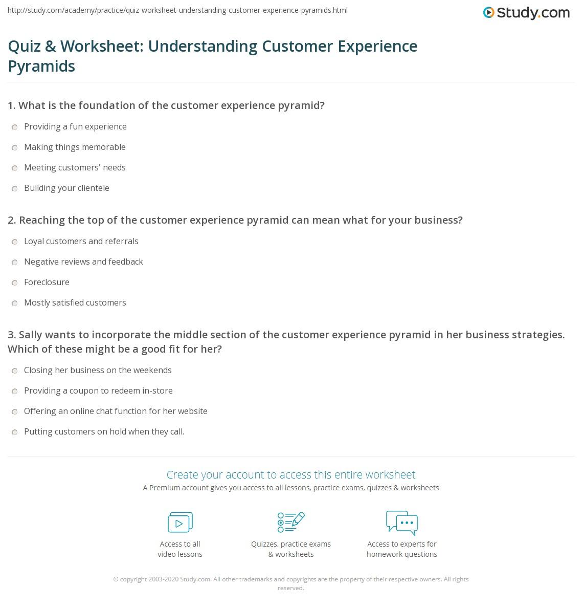Quiz Amp Worksheet Understanding Customer Experience