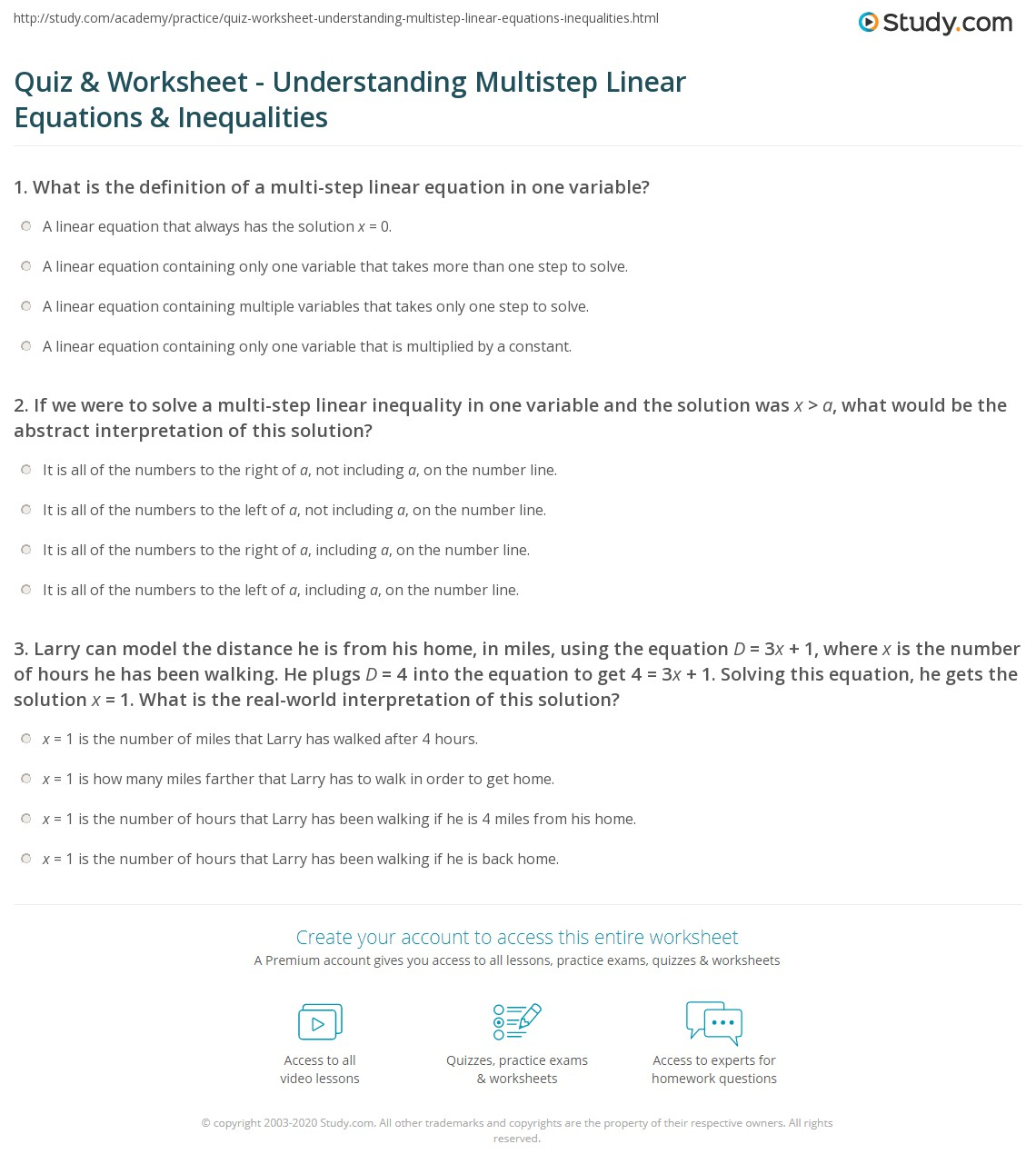 Solving Equations And Inequalities Worksheet