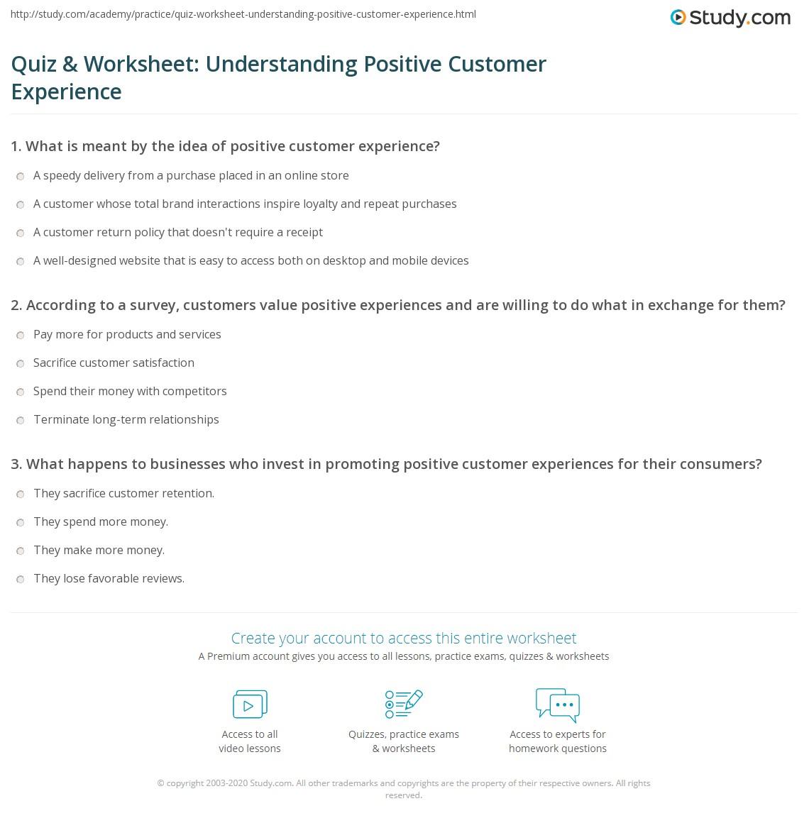 Quiz Amp Worksheet Understanding Positive Customer