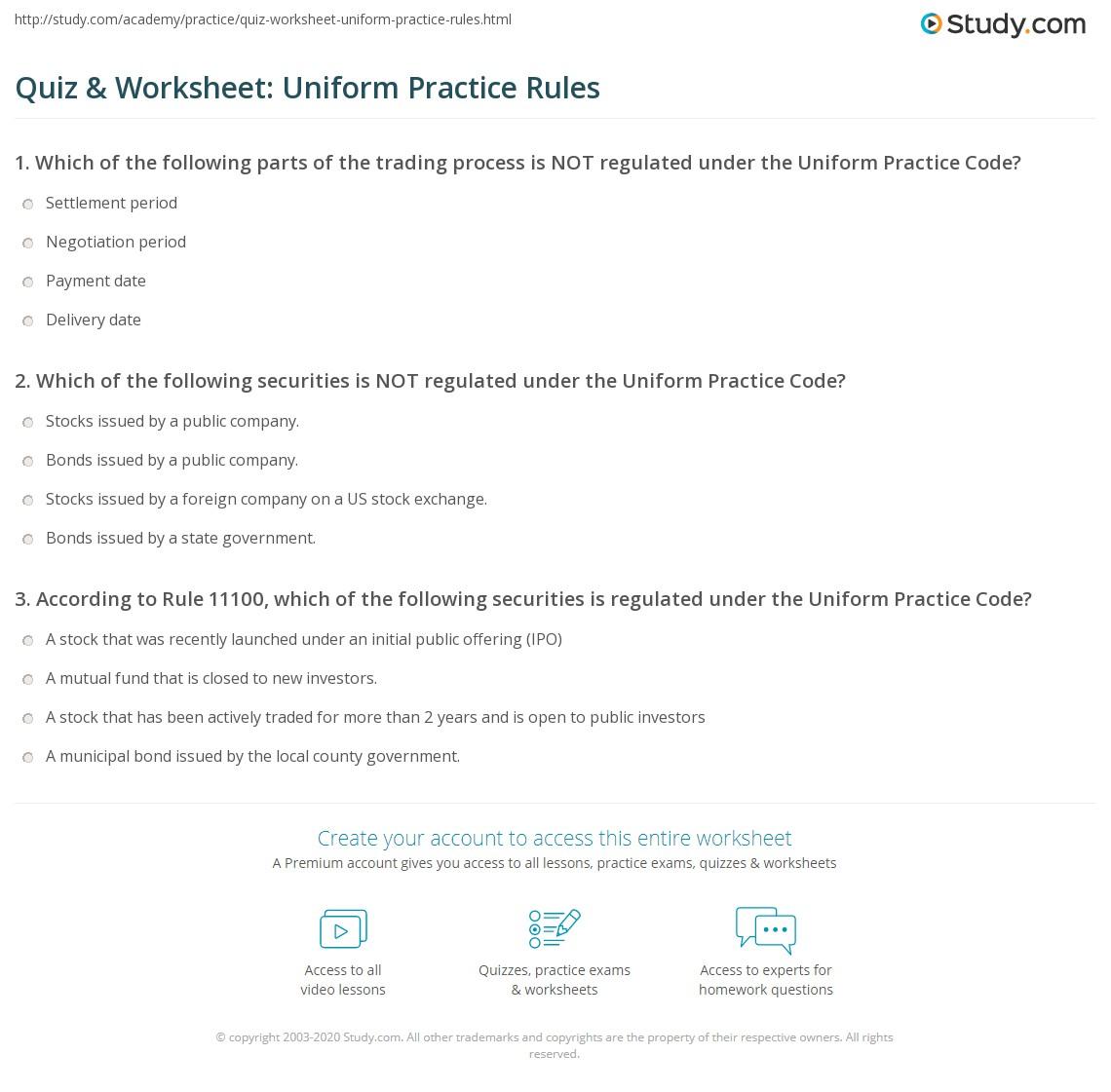 Quiz Amp Worksheet Uniform Practice Rules