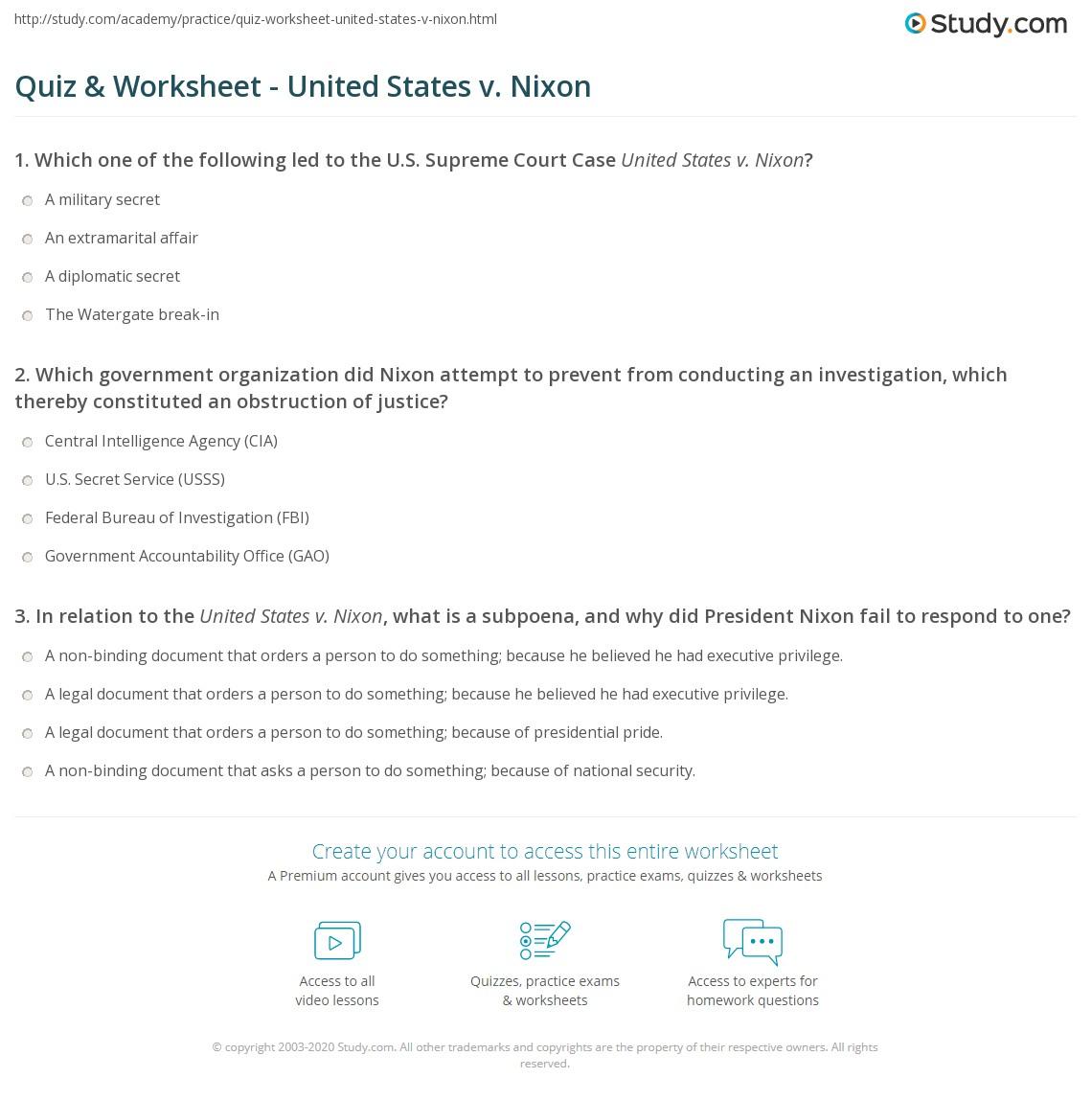 Quiz W Ksheet United St Tes V Nix Study