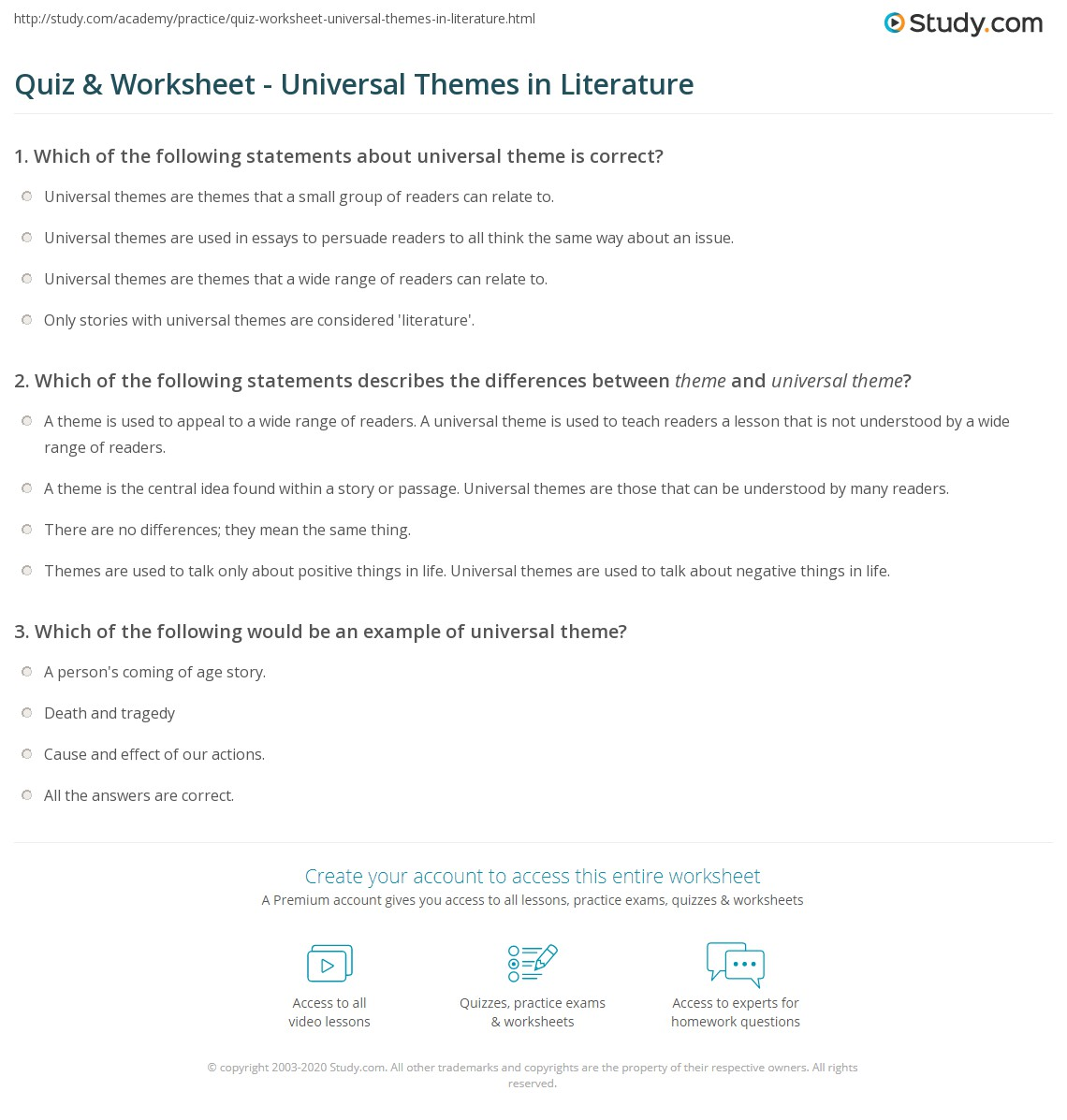 Quiz For Middle School Reading Worksheet