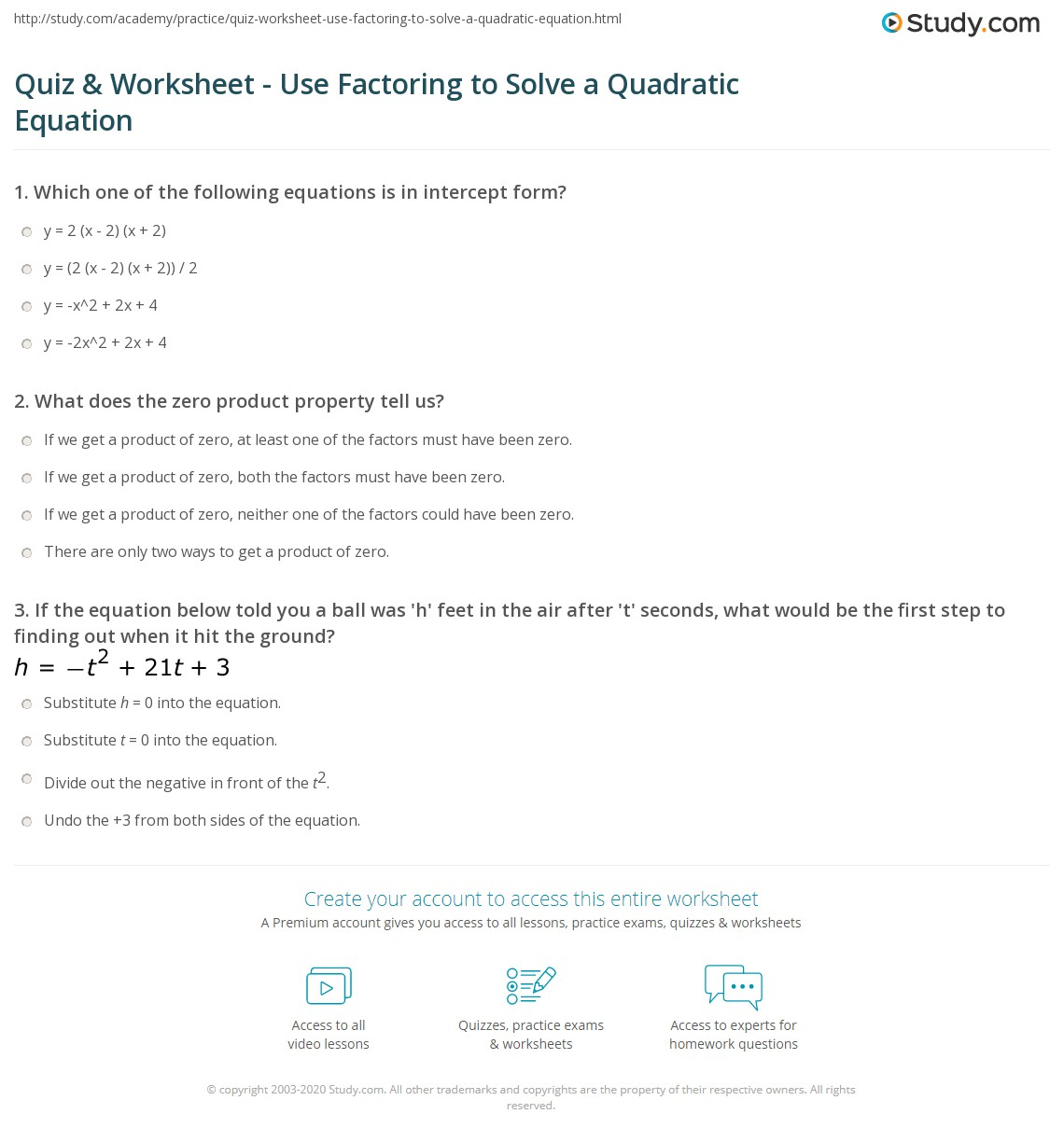 Solve Quadratic Equation By Factoring Worksheet