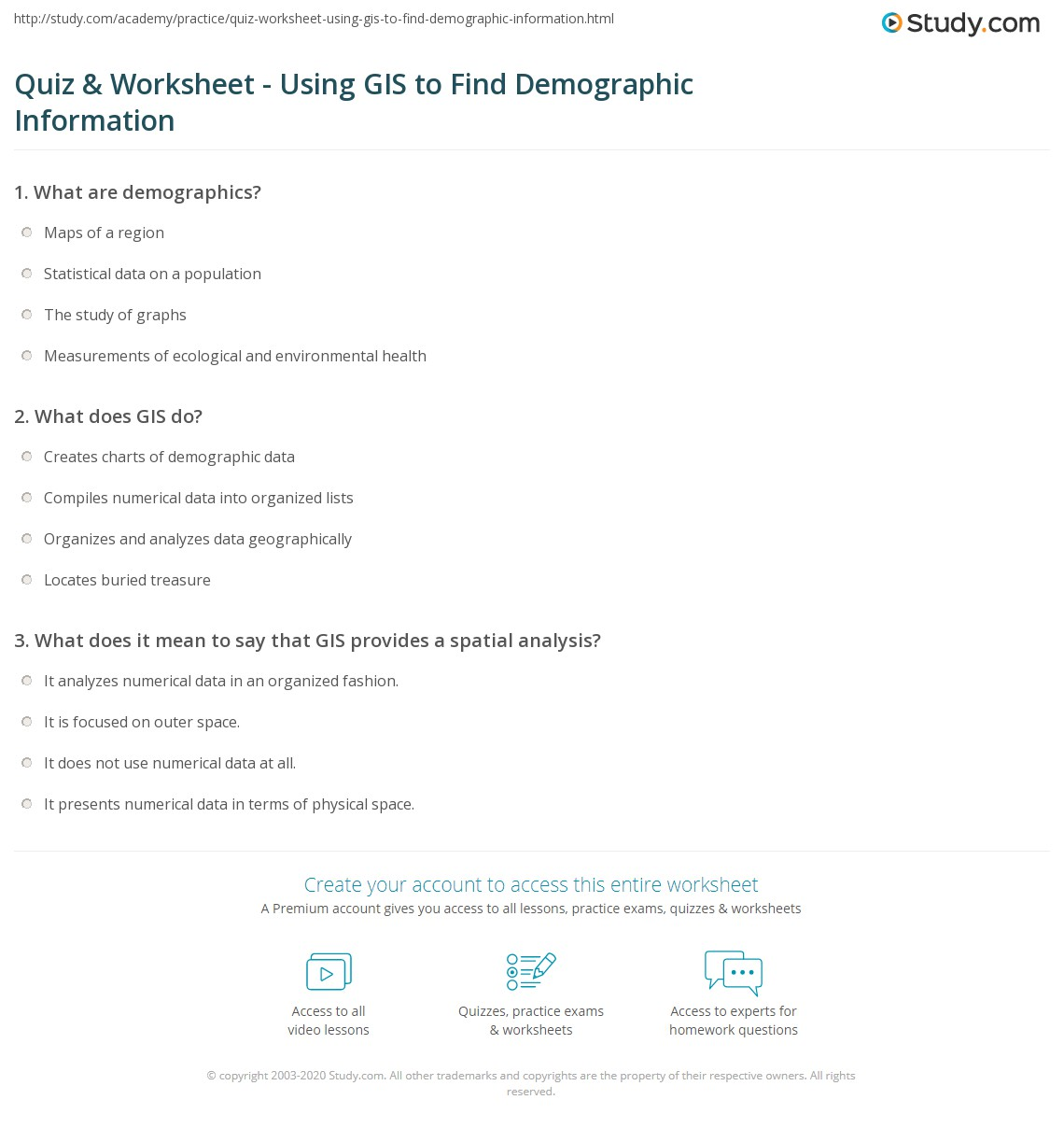 Spatial Worksheet 3 Answers