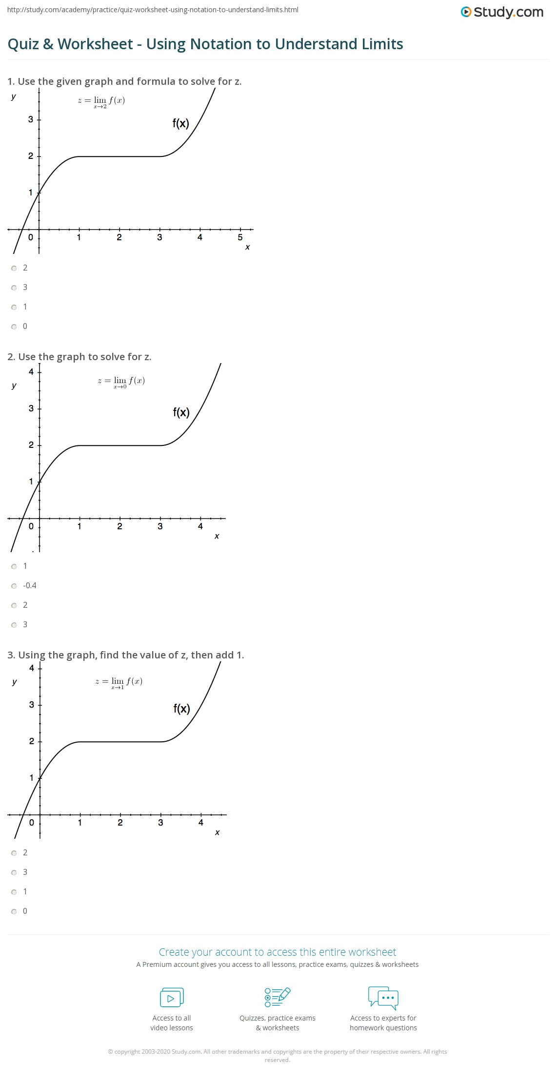 One Sided Limits Worksheet